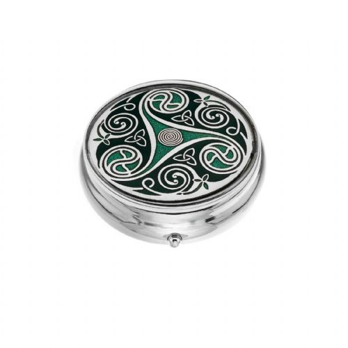 Large Pill Box Silver Plated Celtic Triskele Design Green Brand New & Boxed